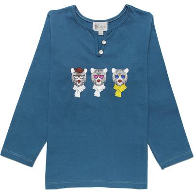 T-Shirt fille ours bleu saphir