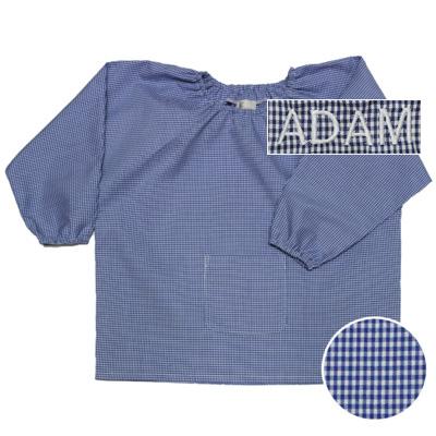 "Blouse - Vichy Bleu - 3 ans - Brodé ""Adam"""