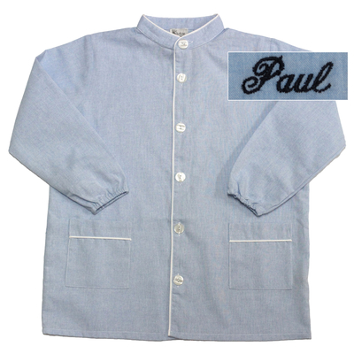 """Tablier col Mao - Ciel - 12 ans - Brodé """"Paul"""""""