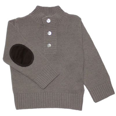 Pull Col Boutonné - Taupe
