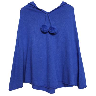 Poncho Femme à Capuche - Bleu