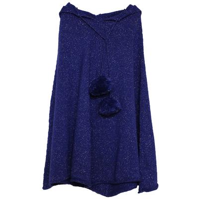 Poncho Fille à Capuche - Pailleté Bleu