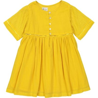 Robe Fille Manches Courtes effet Crêpe Jaune - Golden