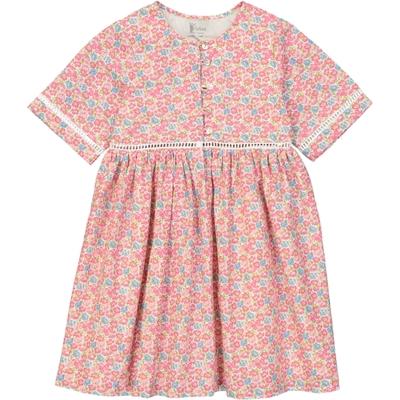 Robe Fille Manches Courtes - fleurs rose<br>Existe uniquement en 4 et 12 ans<br>