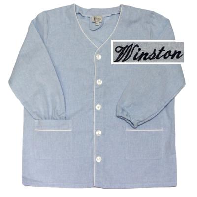 """Tablier col V - Ciel - 4 ans - Brodé """"Winston"""""""