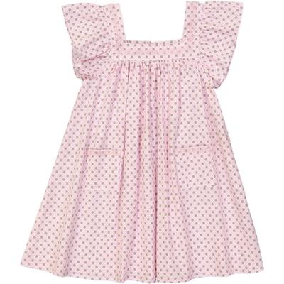 Robe fille brodée motif imprimé rose<br>Existe uniquement en 2 et 10 ans<br>
