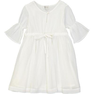 Robe Fille volantée en crêpe - Blanc