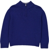 Pull Col contrastant gris Zip - Bleu-1