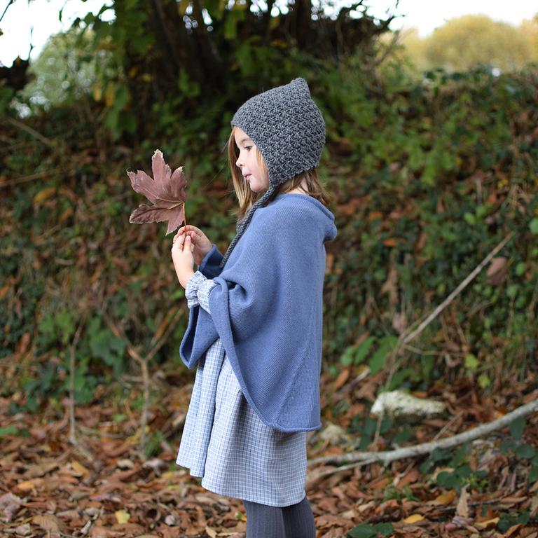poncho-fille-laine-cachemire-bleu-jean