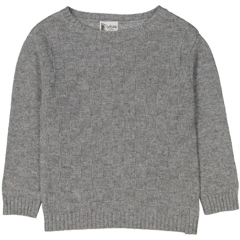 pull-garçon-damier-gris-moucheté