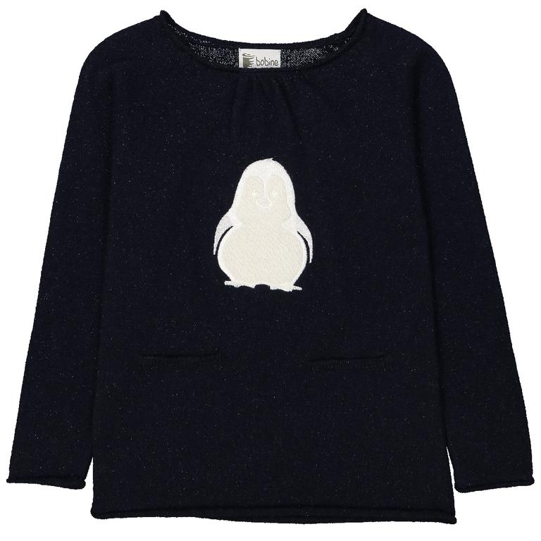 pull-fille-pingouin-marine-pailleté