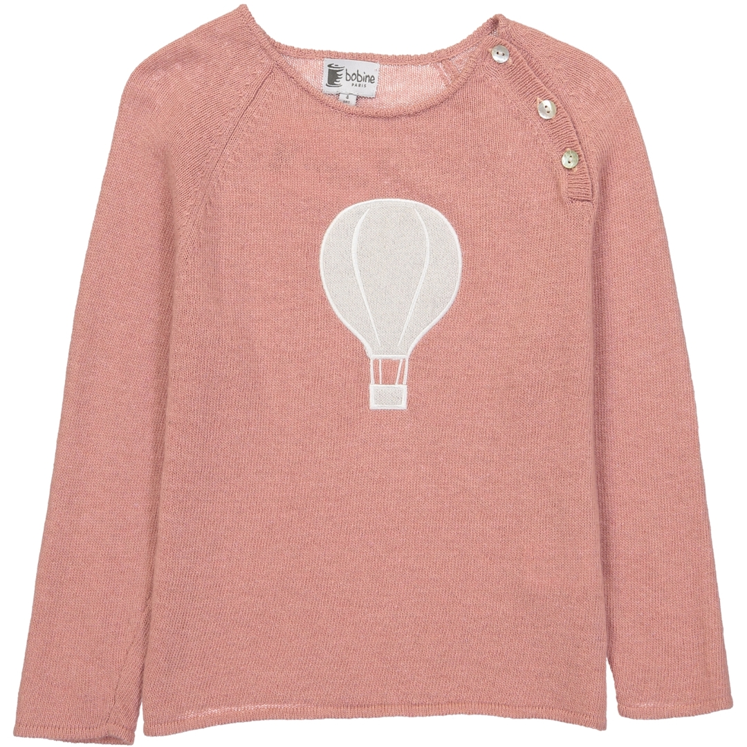 Pull Boutons Montgolfiere - Vieux rose-1