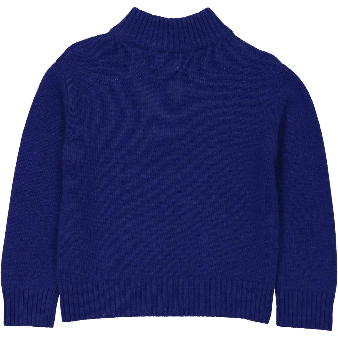Pull Col contrastant gris Zip - Bleu-2