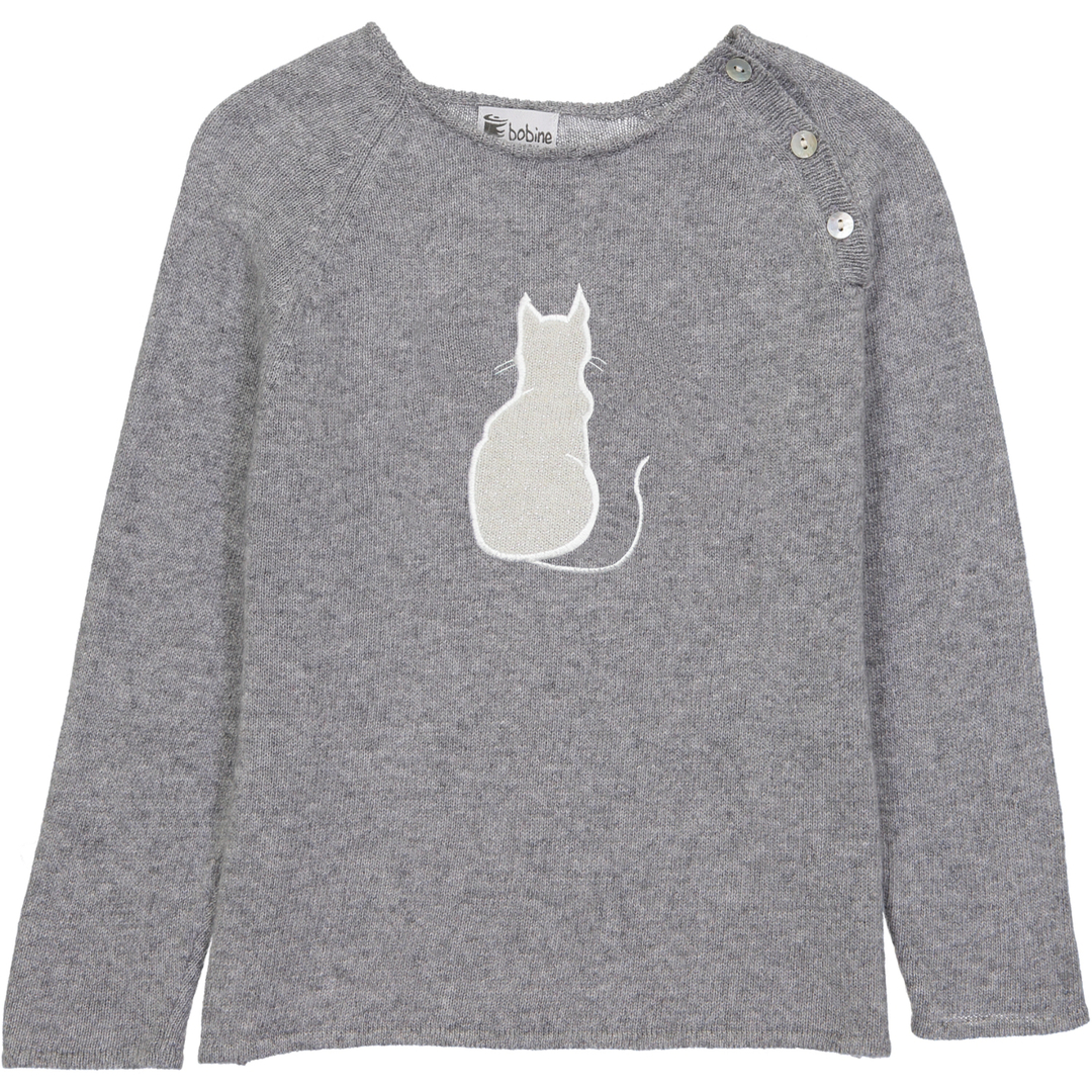 Pull Boutons Chat - Gris-1