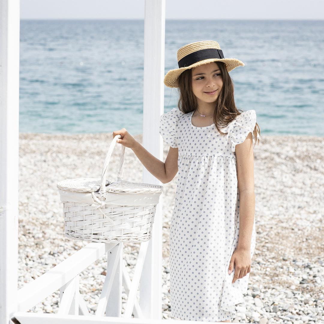 robe-fille-blanche-pois-bleu-1