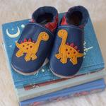 chausson_cuir_bleu_dinosaure_inch_blue