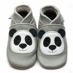chausson-cuir-bébé-gris-panda