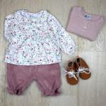 blouse + panty + cardigan