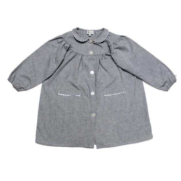 tablier d 39 cole fille blouse col claudine gris bobine. Black Bedroom Furniture Sets. Home Design Ideas