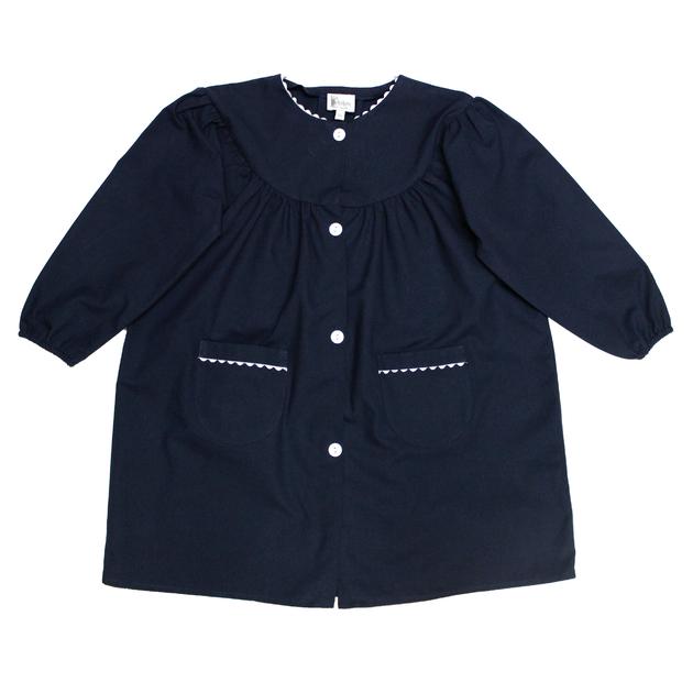 tablier d 39 cole fille blouse scolaire col rond marine bobine. Black Bedroom Furniture Sets. Home Design Ideas
