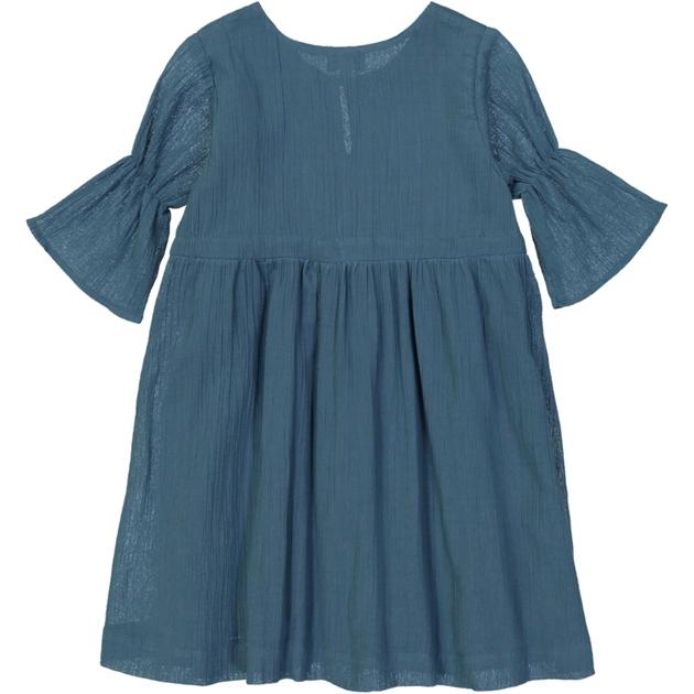 Robe fille en crêpe bleu canard - dos