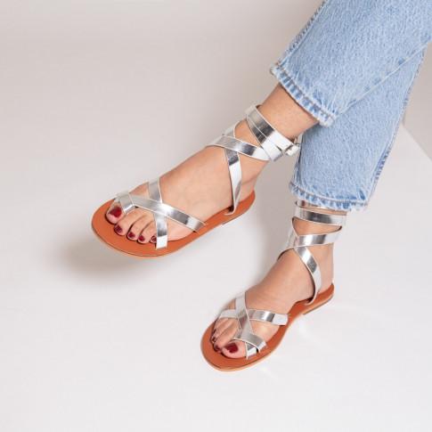 Sandales argent à lanières