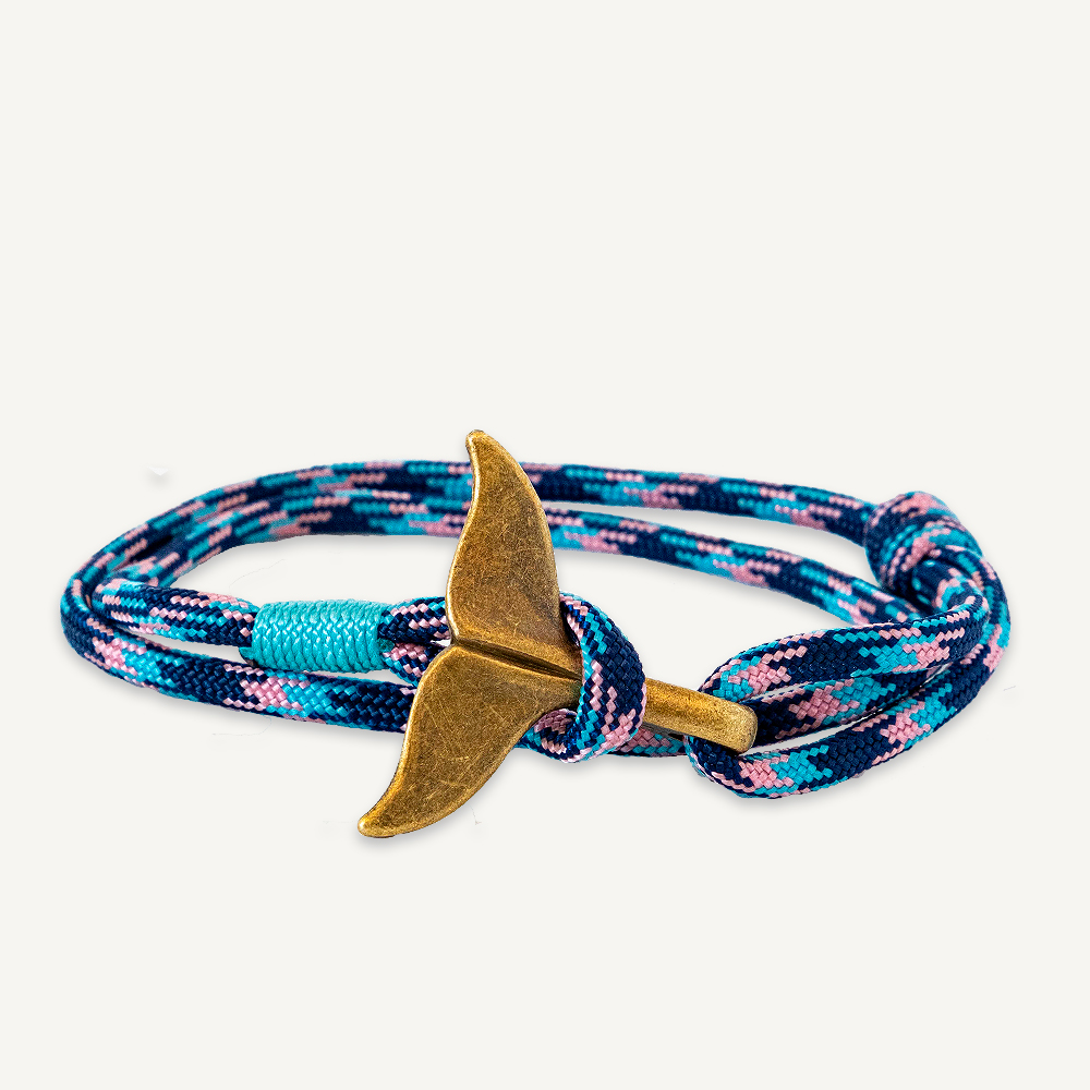 Bracelet queue de baleine bleu et rose