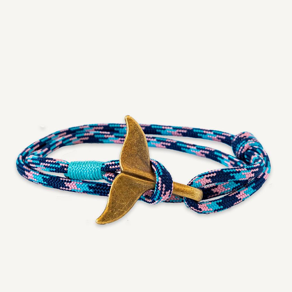 Bracelet queue de baleine bleu et rose