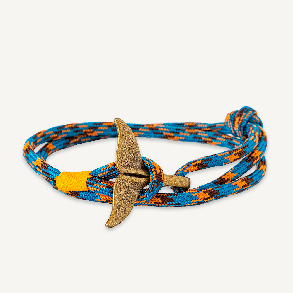 Bracelet queue de baleine bleu et orange