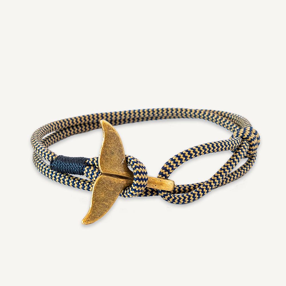 Bracelet élégant queue de baleine or et bleu