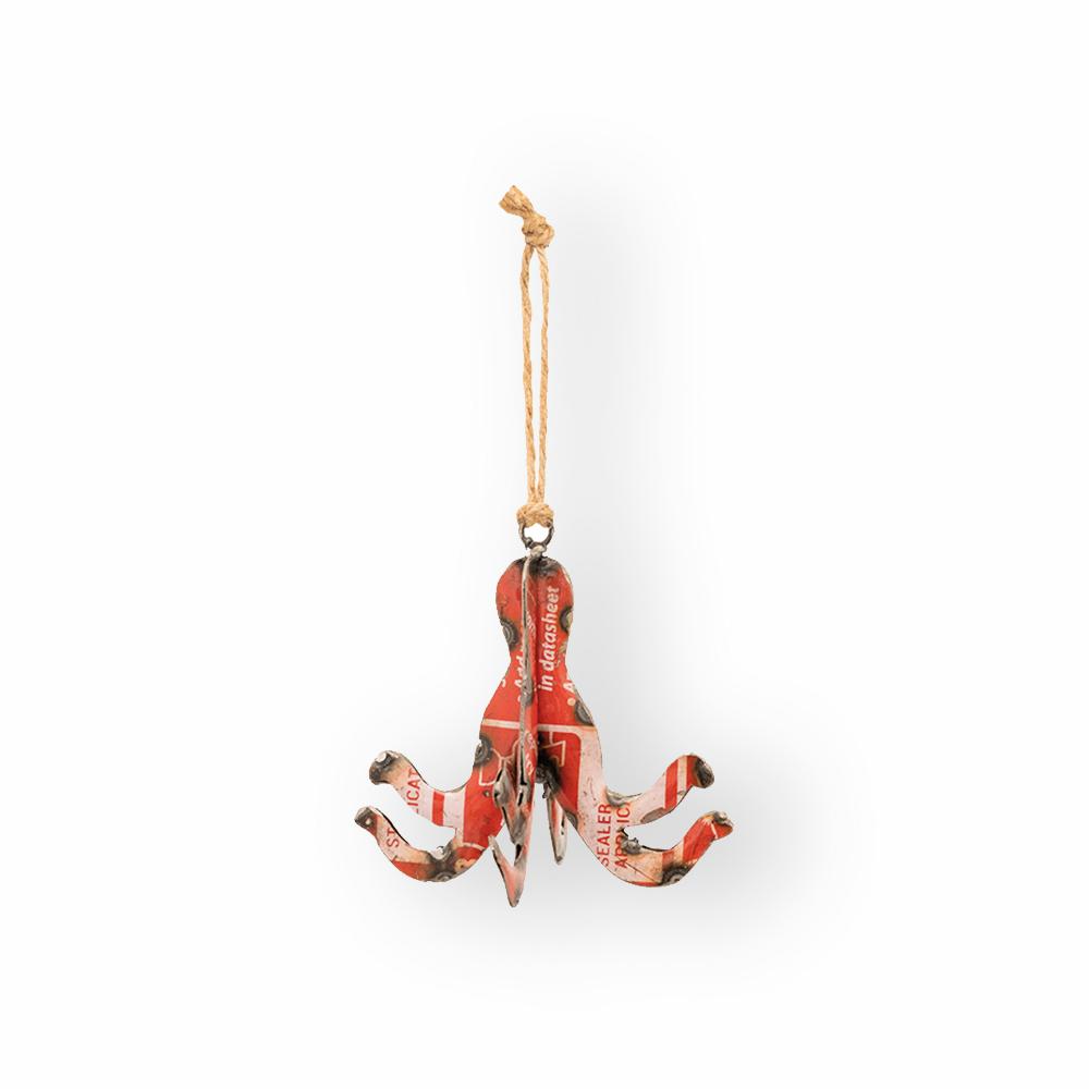 Pendant décoratif rouge poulpe