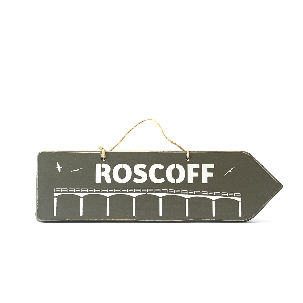 Pancarte ROSCOFF taupe