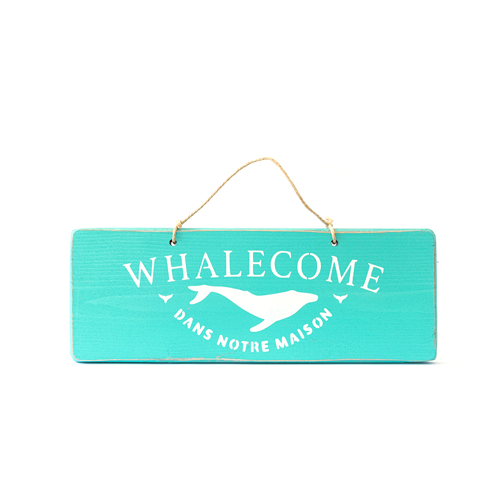 Pancarte WHALECOME turquoise