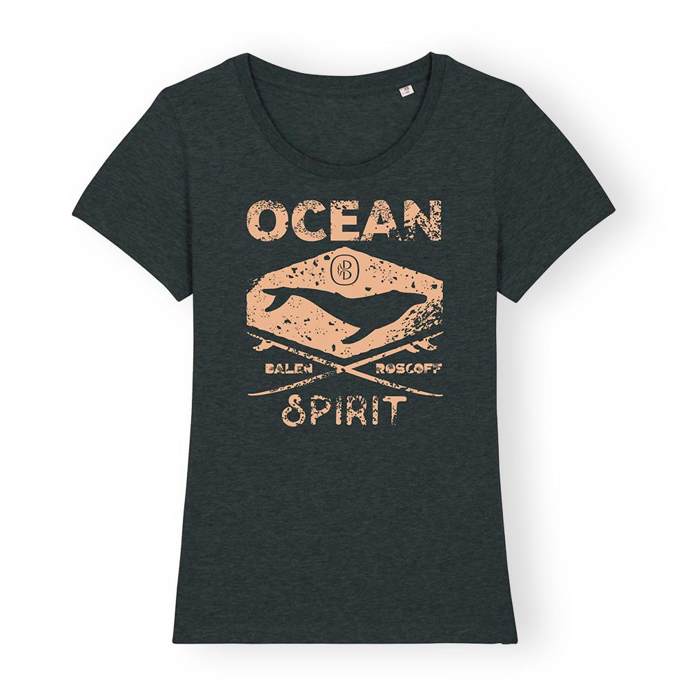 T-shirt FEMME Ocean spirit noir & sable