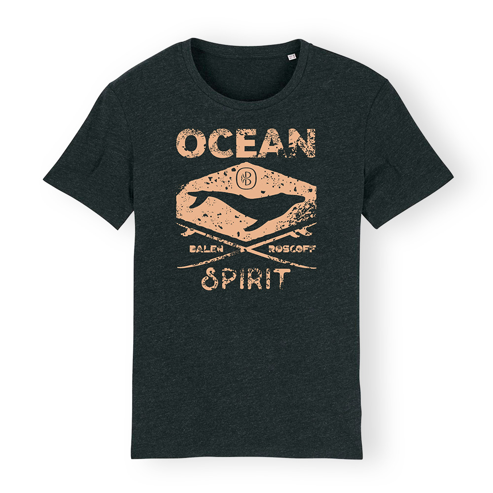 T-shirt UNISEXE Ocean spirit noir chiné & sable