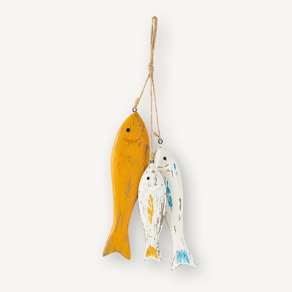 3 poissons en bois jaunes et bleus