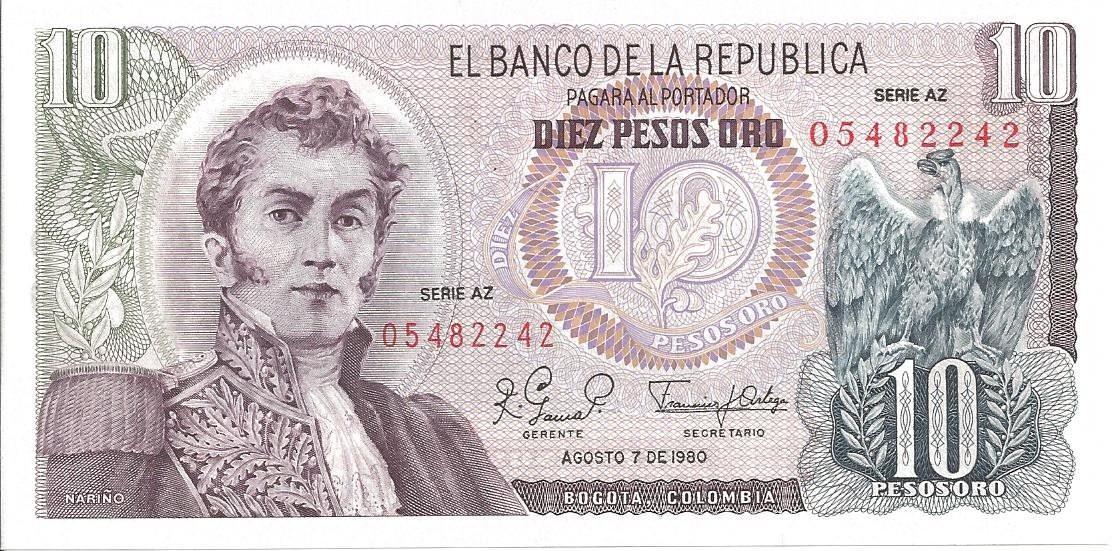 Colombie 10 pesos