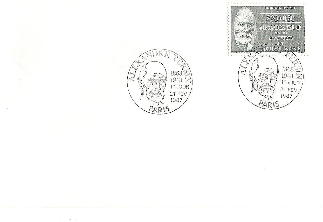 enveloppe 1er jour1987ALEXANDRE YERSIN