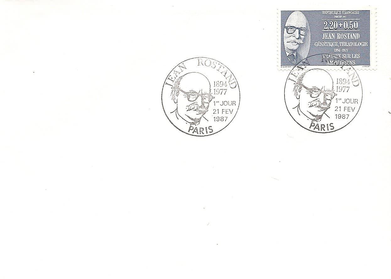 enveloppe 1er jour1987JEAN ROSTAND