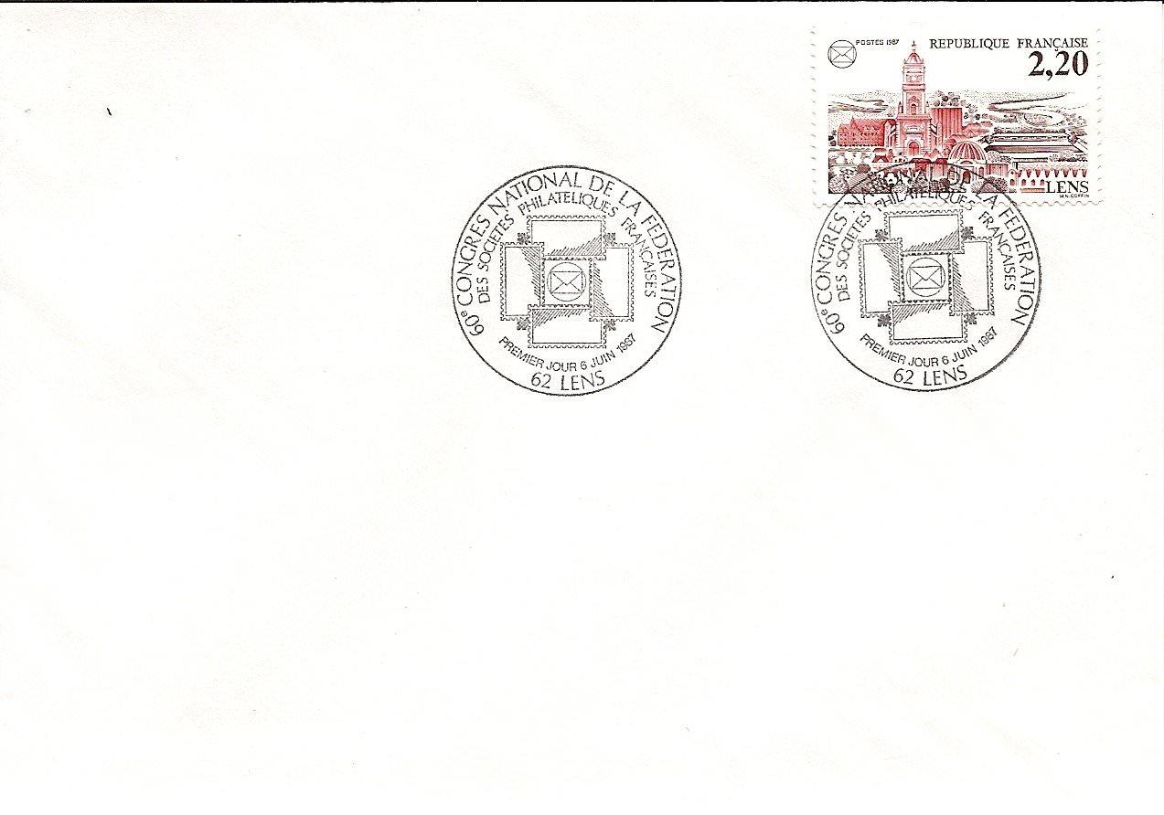 enveloppe 1er jour1987CONGRE FSPF LENS