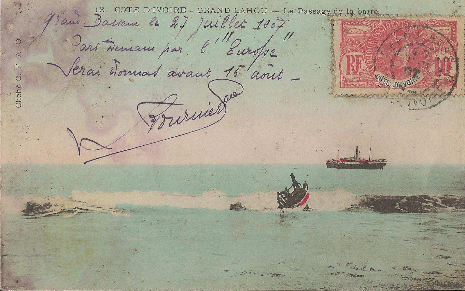 Grand Lahou 1907 passage de la barre