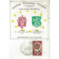 CARTE MAXIMUM 1965 / CONGRES PHILATÉLIQUE EUROPÉEN / MONTPELLIER
