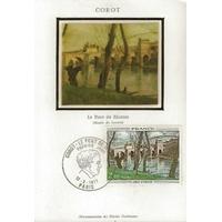 """CARTE MAXIMUM 1977 / COROT """"LE PONT DE MANTES"""" / PARIS"""