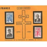 HOMMAGE AU GÉNÉRAL DE GAULLE 4 TIMBRES 1970 SÉRIE COMPLÈTE