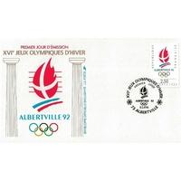 ENVELOPPE ILLUSTRÉE 1er JOUR 1992 / JEUX OLYMPIQUES D'ALBERTVILLE / ALBERTVILLE