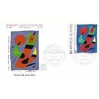 """ENVELOPPE ILLUSTRÉE 1er JOUR 1974 / MIRO """"ŒOEUVRE ORIGINALE"""" / PARIS"""