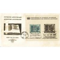 ENVELOPPE 1er JOUR 1960 / 15ème ANNIVERSAIRE DES NATIONS UNIES BLOC DE 2 TIMBRES  / NATIONS UNIES NEW YORK
