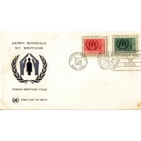 ENVELOPPE 1er JOUR 1959 / ANNEE MONDIALE DU REFUGIE / NATIONS UNIES NEW YORK