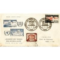 ENVELOPPE COMMÉMORATIVE ILLUSTREE 1959 / JOURNÉE DES TIMBRES DES NATIONS UNIES / PARIS