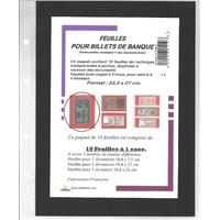 FEUILLES DE RECHARGE POUR CLASSEURS BILLETS DE BANQUE / CARTES POSTALES / PHOTOS